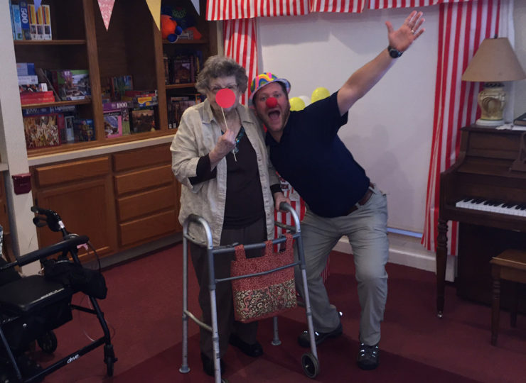 Summit Home Health Care Caregiver with Elderly Lady as Clowns