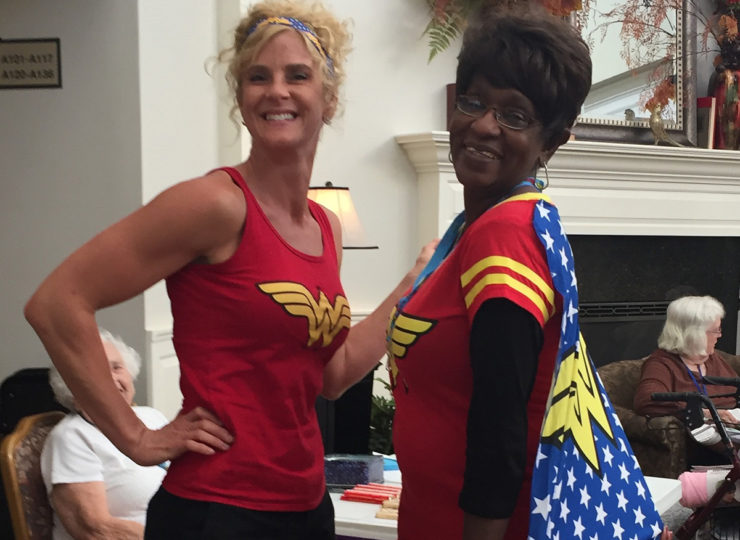 Summit Home Health Care Caregivers Dressed as Wonder Woman